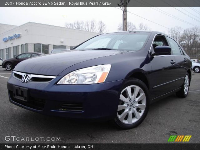 royal blue pearl 2007 honda accord se v6 sedan gray interior vehicle. Black Bedroom Furniture Sets. Home Design Ideas