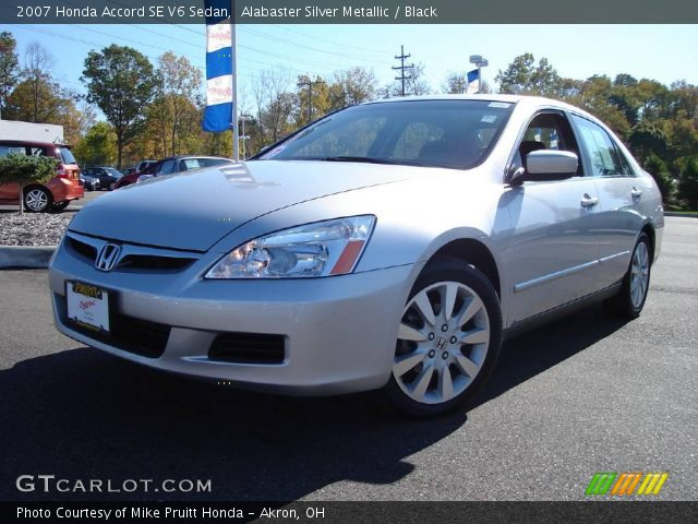 alabaster silver metallic 2007 honda accord se v6 sedan black interior. Black Bedroom Furniture Sets. Home Design Ideas