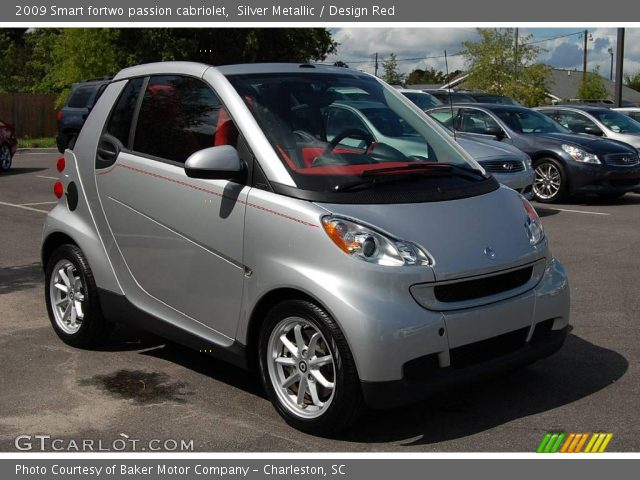 silver metallic 2009 smart fortwo passion cabriolet design red interior. Black Bedroom Furniture Sets. Home Design Ideas