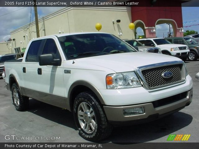oxford white 2005 ford f150 lariat supercrew castano brown leather. Black Bedroom Furniture Sets. Home Design Ideas