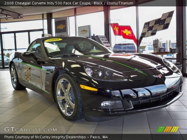 black 2008 chevrolet corvette indy 500 pace car coupe ebony titanium interior. Black Bedroom Furniture Sets. Home Design Ideas