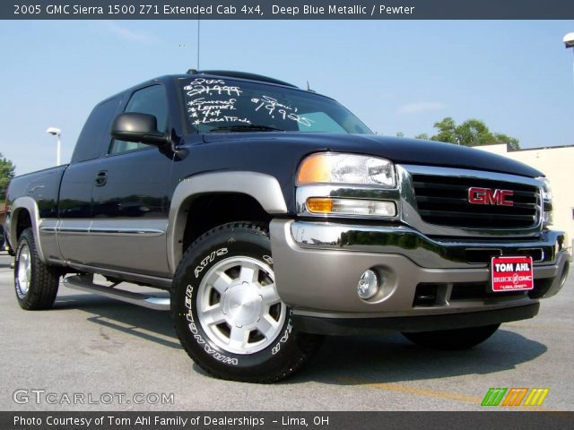 deep blue metallic 2005 gmc sierra 1500 z71 extended cab 4x4 pewter interior. Black Bedroom Furniture Sets. Home Design Ideas