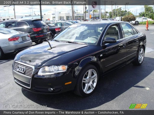 brilliant black 2005 audi a4 3 2 quattro sedan platinum interior vehicle. Black Bedroom Furniture Sets. Home Design Ideas