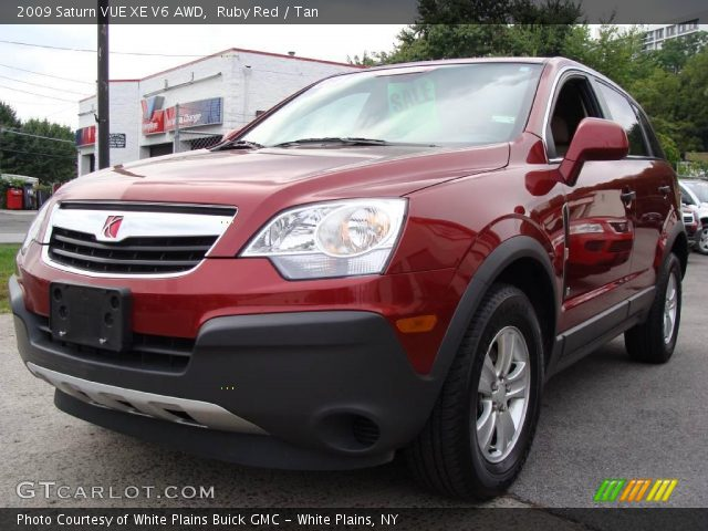 ruby red 2009 saturn vue xe v6 awd tan interior vehicle archive 17618738. Black Bedroom Furniture Sets. Home Design Ideas