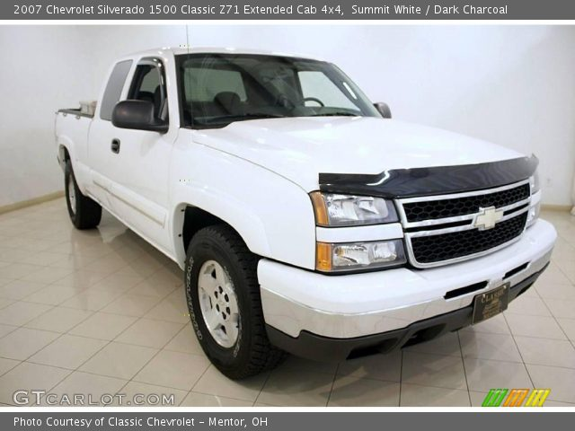 summit white 2007 chevrolet silverado 1500 classic z71 extended cab 4x4 dark charcoal. Black Bedroom Furniture Sets. Home Design Ideas