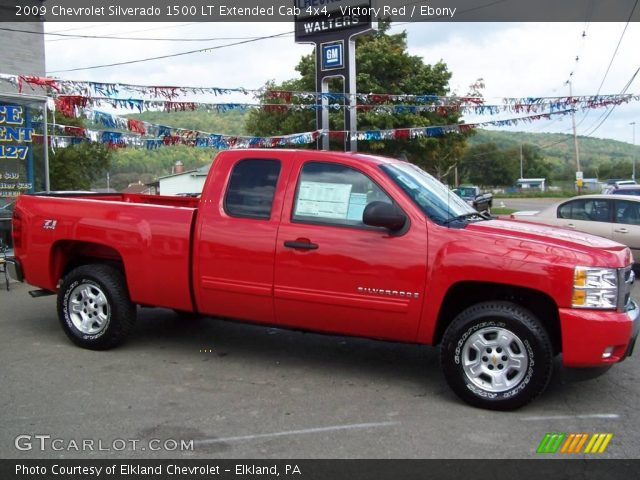 victory red 2009 chevrolet silverado 1500 lt extended cab 4x4 ebony interior. Black Bedroom Furniture Sets. Home Design Ideas