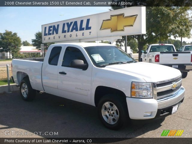 summit white 2008 chevrolet silverado 1500 lt extended cab ebony interior. Black Bedroom Furniture Sets. Home Design Ideas