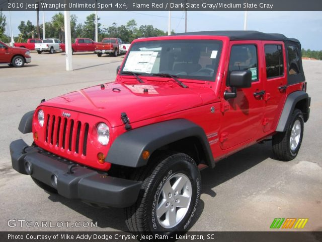 Flame red 2010 jeep wrangler unlimited sport 4x4 dark Jeep wrangler unlimited red interior
