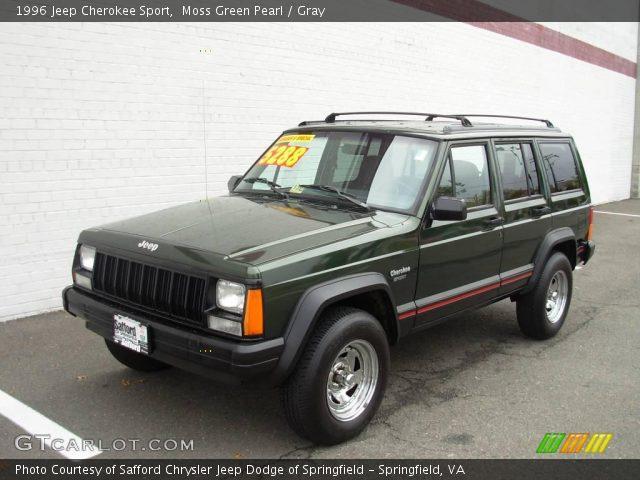 Moss Green Pearl 1996 Jeep Cherokee Sport Gray