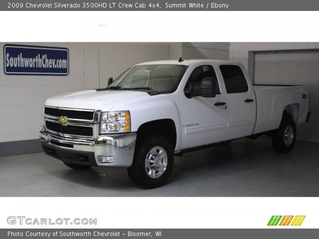 summit white 2009 chevrolet silverado 3500hd lt crew cab 4x4 ebony interior. Black Bedroom Furniture Sets. Home Design Ideas