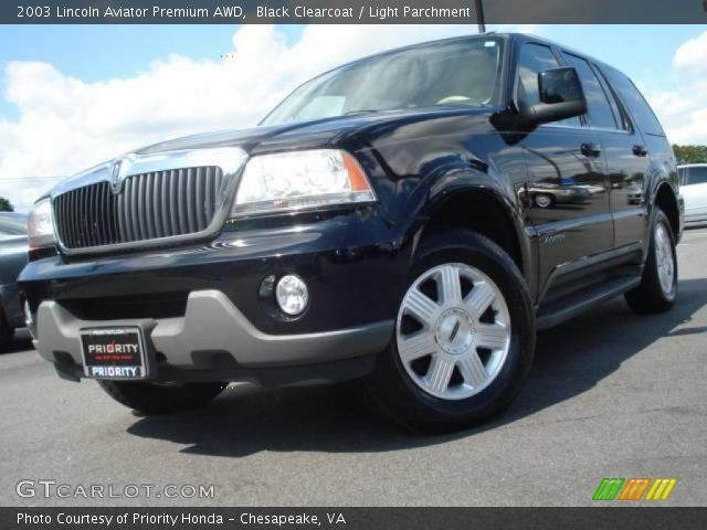 Black Clearcoat 2003 Lincoln Aviator Premium Awd Light Parchment Interior
