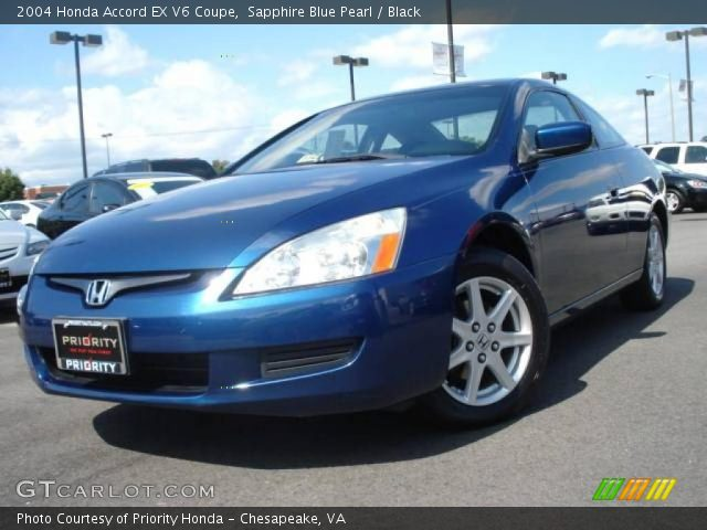 sapphire blue pearl 2004 honda accord ex v6 coupe black interior vehicle. Black Bedroom Furniture Sets. Home Design Ideas