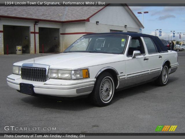 performance white 1994 lincoln town car signature blue interior vehicle. Black Bedroom Furniture Sets. Home Design Ideas