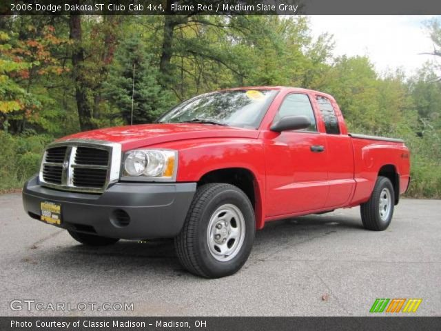 flame red 2006 dodge dakota st club cab 4x4 medium slate gray interior. Black Bedroom Furniture Sets. Home Design Ideas