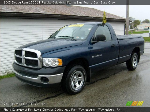 patriot blue pearl 2003 dodge ram 1500 st regular cab 4x4 dark slate gray interior. Black Bedroom Furniture Sets. Home Design Ideas
