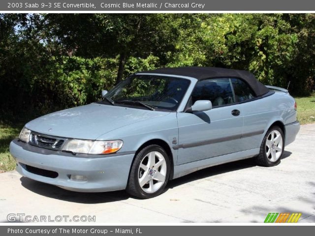 cosmic blue metallic 2003 saab 9 3 se convertible with charcoal grey. Black Bedroom Furniture Sets. Home Design Ideas