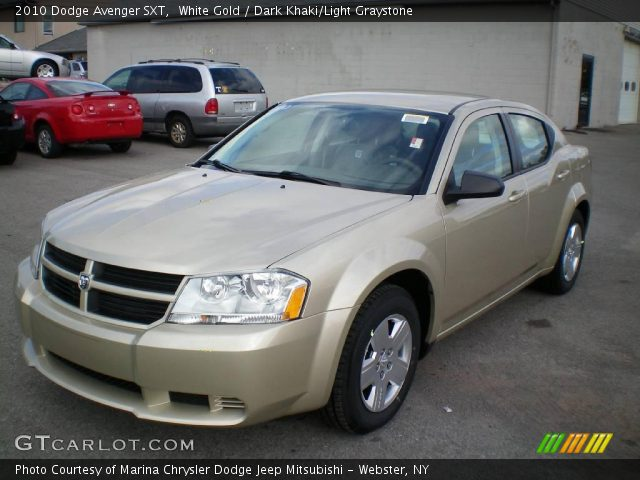 white gold 2010 dodge avenger sxt dark khaki light. Black Bedroom Furniture Sets. Home Design Ideas