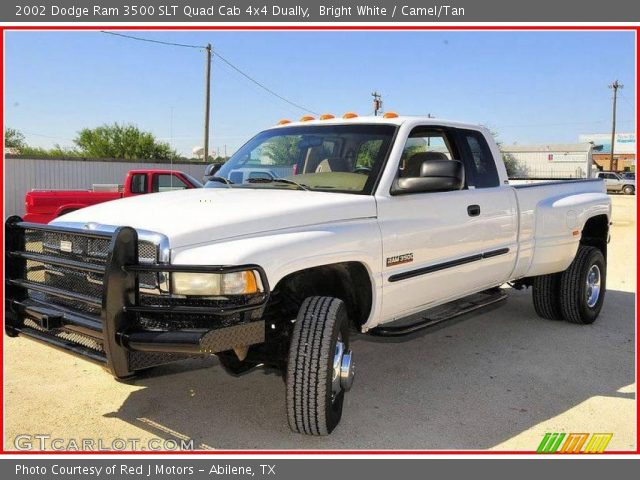 bright white 2002 dodge ram 3500 slt quad cab 4x4 dually camel tan interior gtcarlot com vehicle archive 19948745 gtcarlot com