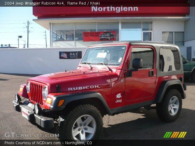 Flame Red 2004 Jeep Wrangler Rubicon 4x4 Khaki Interior Vehicle Archive