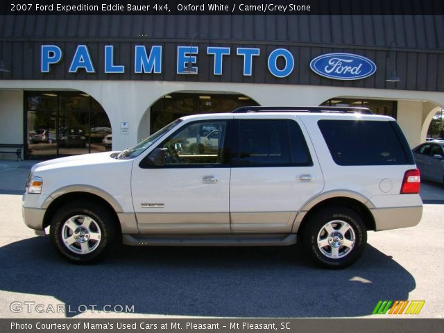 oxford white 2007 ford expedition eddie bauer 4x4 camel grey stone interior. Black Bedroom Furniture Sets. Home Design Ideas