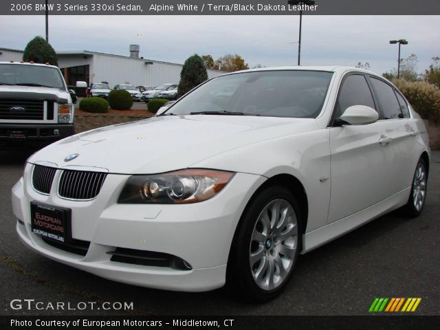 alpine white 2006 bmw 3 series 330xi sedan terra black dakota leather interior gtcarlot. Black Bedroom Furniture Sets. Home Design Ideas