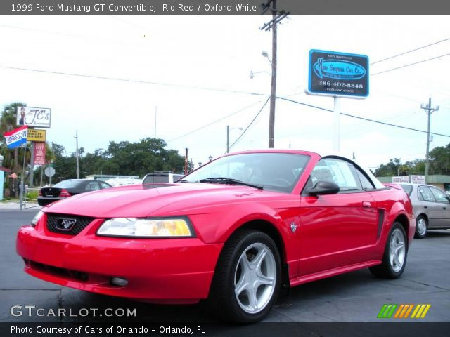 rio red 1999 ford mustang gt convertible oxford white. Black Bedroom Furniture Sets. Home Design Ideas
