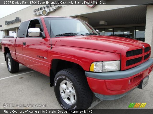 flame red 1997 dodge ram 1500 sport extended cab 4x4 mist gray interior. Black Bedroom Furniture Sets. Home Design Ideas