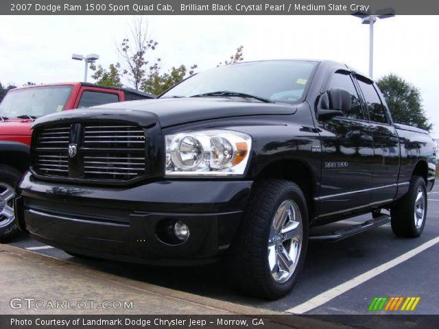Brilliant Black Crystal Pearl 2007 Dodge Ram 1500 Sport Quad Cab Medium Slate Gray Interior