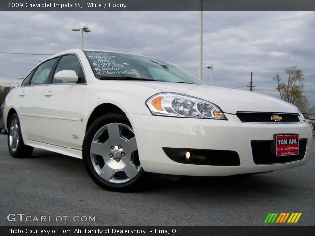 white 2009 chevrolet impala ss ebony interior. Black Bedroom Furniture Sets. Home Design Ideas