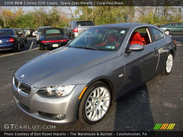 space grey metallic 2008 bmw 3 series 328i coupe coral red black interior. Black Bedroom Furniture Sets. Home Design Ideas