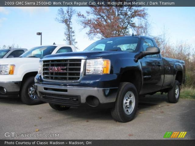 midnight blue metallic 2009 gmc sierra 2500hd work truck regular cab 4x4 dark titanium. Black Bedroom Furniture Sets. Home Design Ideas