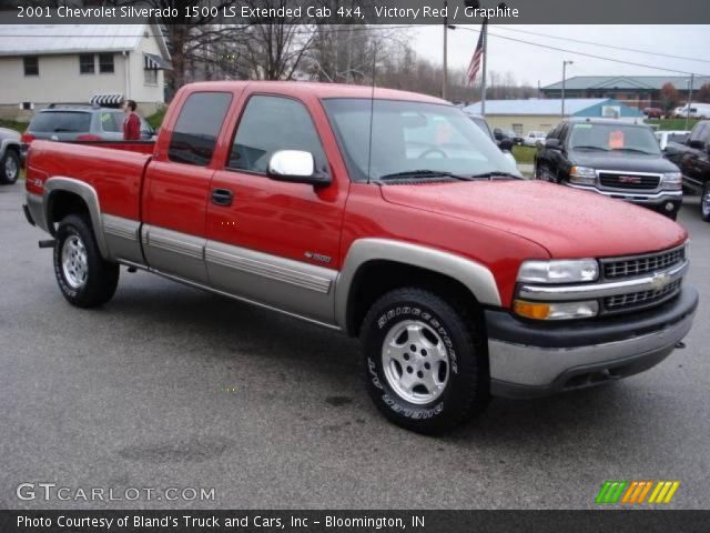 victory red 2001 chevrolet silverado 1500 ls extended cab 4x4 graphite interior gtcarlot. Black Bedroom Furniture Sets. Home Design Ideas