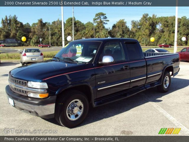 indigo blue metallic 2000 chevrolet silverado 2500 ls extended cab medium gray interior. Black Bedroom Furniture Sets. Home Design Ideas