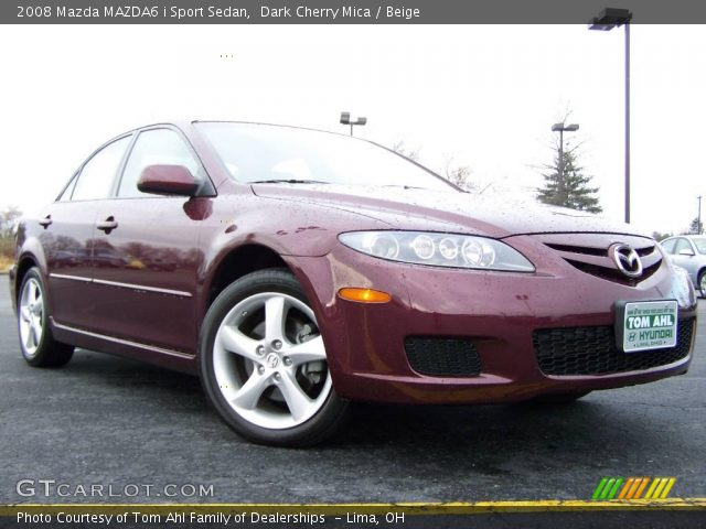 dark cherry mica 2008 mazda mazda6 i sport sedan beige. Black Bedroom Furniture Sets. Home Design Ideas