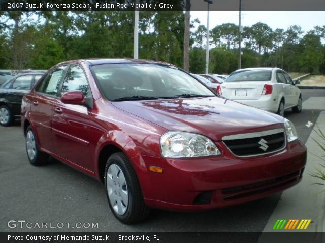 Fusion Red Metallic 2007 Suzuki Forenza Sedan with Grey interior 2007 Suzuki