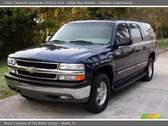 indigo blue metallic 2002 chevrolet suburban 1500 ls 4x4 medium gray neutral interior. Black Bedroom Furniture Sets. Home Design Ideas