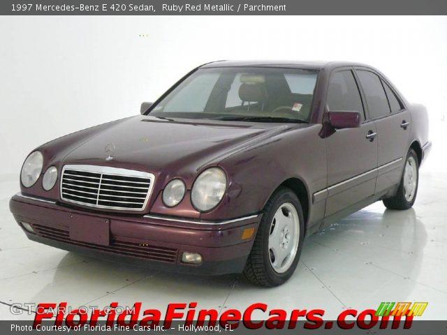 ruby red metallic 1997 mercedes benz e 420 sedan parchment interior vehicle. Black Bedroom Furniture Sets. Home Design Ideas