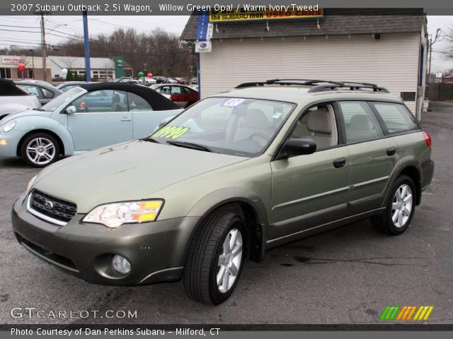 Willow Green Opal 2007 Subaru Outback Wagon Warm Ivory Tweed Interior