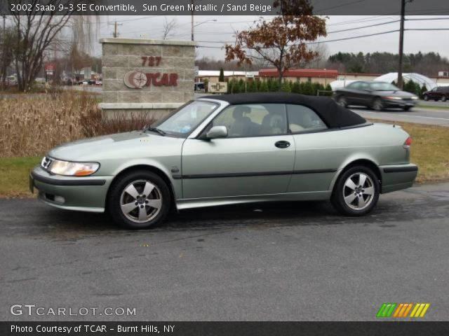 sun green metallic 2002 saab 9 3 se convertible sand beige interior vehicle. Black Bedroom Furniture Sets. Home Design Ideas