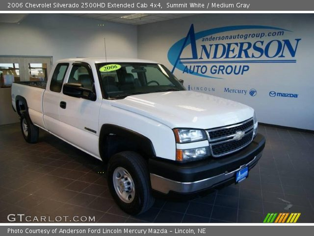 summit white 2006 chevrolet silverado 2500hd extended cab 4x4 medium gray interior. Black Bedroom Furniture Sets. Home Design Ideas