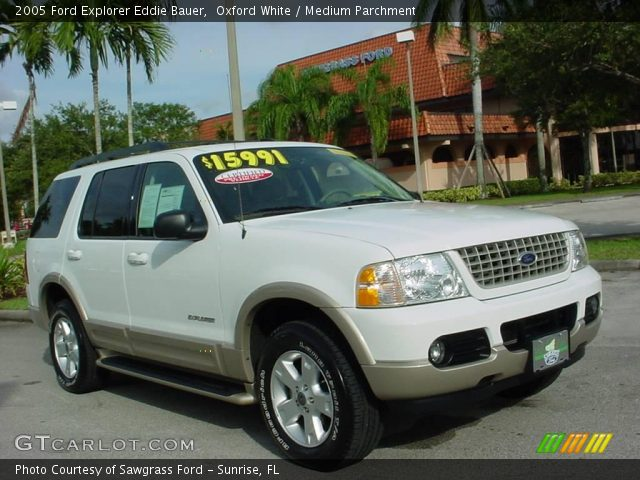 oxford white 2005 ford explorer eddie bauer medium parchment interior. Black Bedroom Furniture Sets. Home Design Ideas
