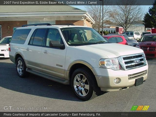 oxford white 2007 ford expedition el eddie bauer 4x4 camel interior vehicle. Black Bedroom Furniture Sets. Home Design Ideas