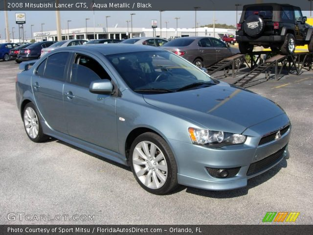 aqua metallic 2008 mitsubishi lancer gts black interior vehicle archive. Black Bedroom Furniture Sets. Home Design Ideas