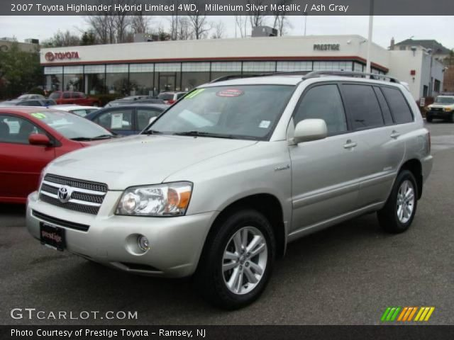 millenium silver metallic 2007 toyota highlander hybrid limited 4wd ash gray interior. Black Bedroom Furniture Sets. Home Design Ideas