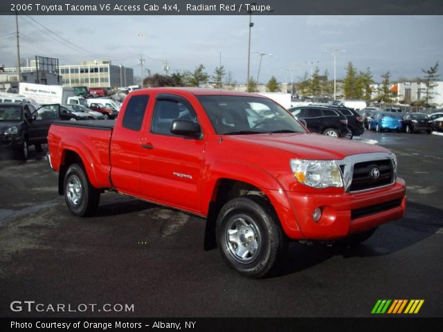 radiant red 2006 toyota tacoma v6 access cab 4x4 taupe interior vehicle. Black Bedroom Furniture Sets. Home Design Ideas