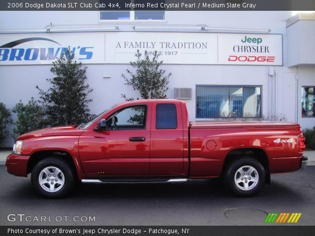 inferno red crystal pearl 2006 dodge dakota slt club cab 4x4 medium slate gray interior. Black Bedroom Furniture Sets. Home Design Ideas