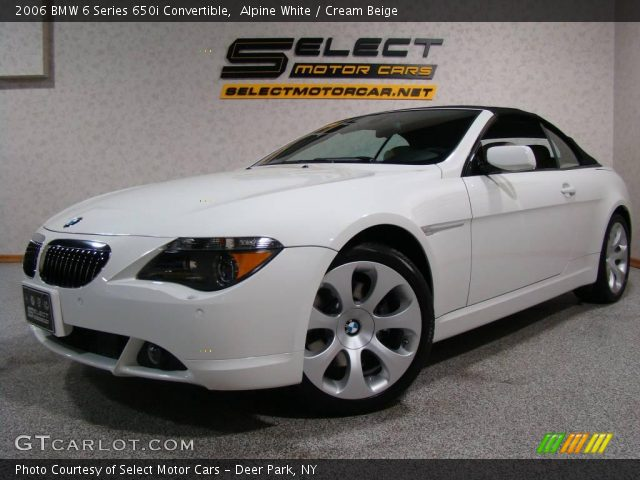 alpine white 2006 bmw 6 series 650i convertible cream beige interior. Black Bedroom Furniture Sets. Home Design Ideas