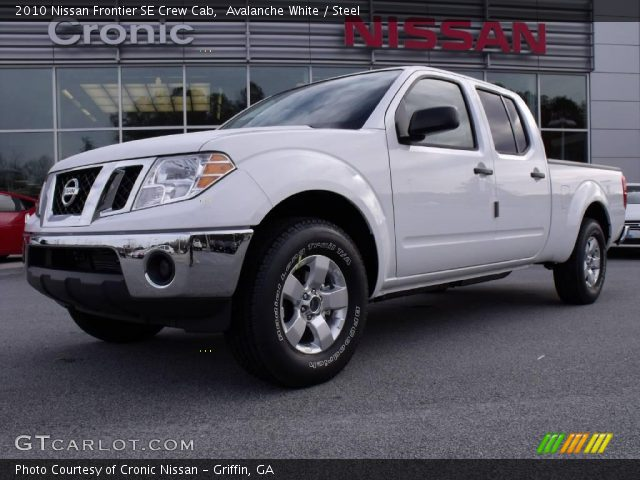 avalanche white 2010 nissan frontier se crew cab steel interior vehicle. Black Bedroom Furniture Sets. Home Design Ideas