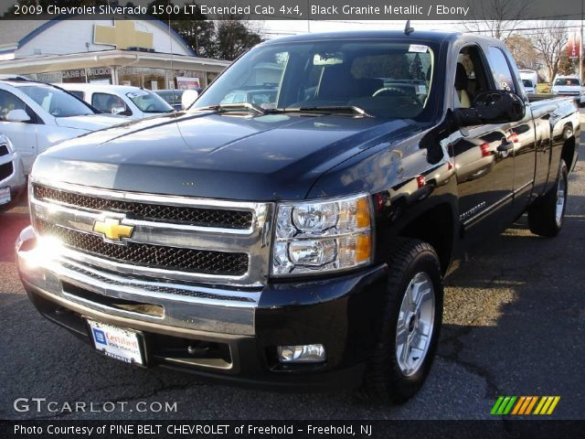 black granite metallic 2009 chevrolet silverado 1500 lt extended cab 4x4 ebony interior. Black Bedroom Furniture Sets. Home Design Ideas