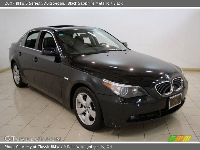 black sapphire metallic 2007 bmw 5 series 530xi sedan. Black Bedroom Furniture Sets. Home Design Ideas